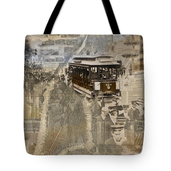 New York Trolley Vintage Photo Collage Tote Bag by Karla Beatty