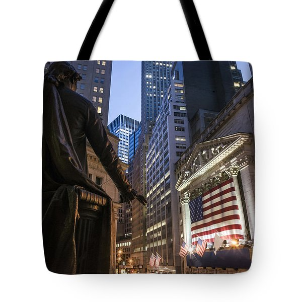Tote Bag featuring the photograph New York Wall Street by Juergen Held