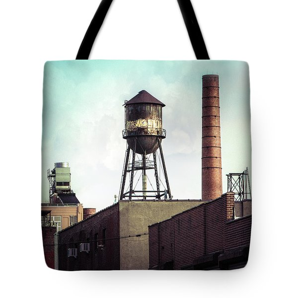 Tote Bag featuring the photograph New York Water Towers 19 - Urban Industrial Art Photography by Gary Heller