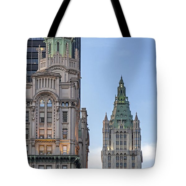 Tote Bag featuring the photograph New York Woolworth Building  by Juergen Held