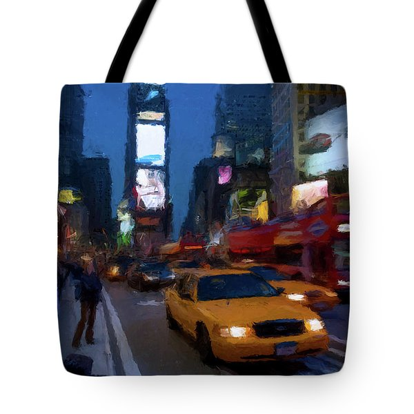 Tote Bag featuring the painting New York Yellow Cab by David Dehner