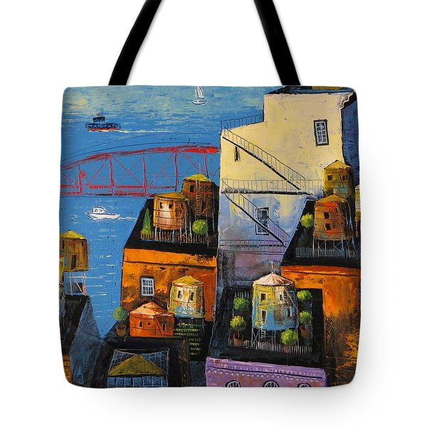 New York,red Bridge Tote Bag