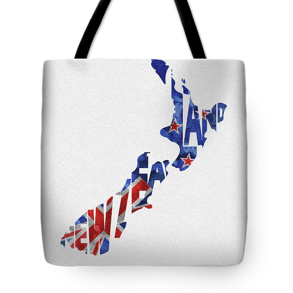 New Zealand Typographic Map Flag Tote Bag