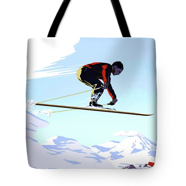 New Zealand Winter Sports Vintage Travel Poster Tote Bag