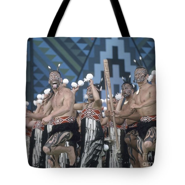 Tote Bag featuring the photograph New Zealand,north Island,  Rotorua Arts Festival,dance And Singi by Juergen Held