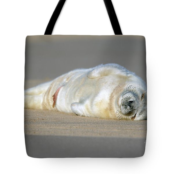 Newborn Baby Atlantic Grey Seal Sleeping Tote Bag