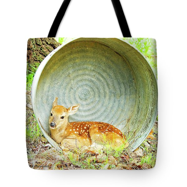 Newborn Fawn Finds Shelter In An Old Washtub Tote Bag by A Gurmankin