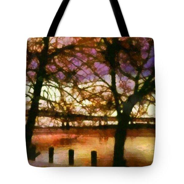 Newburgh Beacon Bridge Purple Skies Tote Bag by Janine Riley