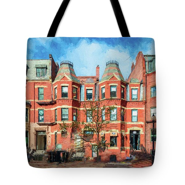 Newbury Street In Boston Tote Bag
