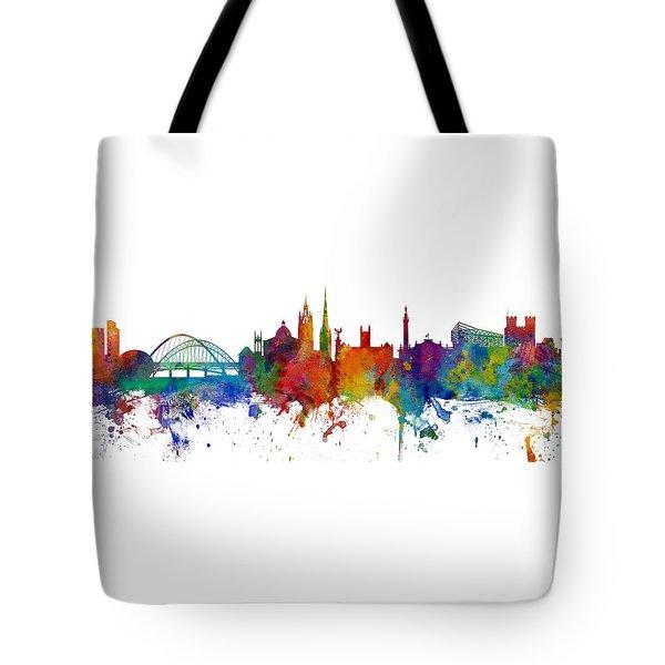 Newcastle England Skyline Custom Panoramic Tote Bag