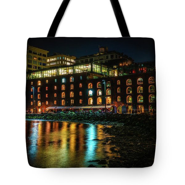 Tote Bag featuring the photograph Newly Gentrified Warehouse At Night by Chris Lord
