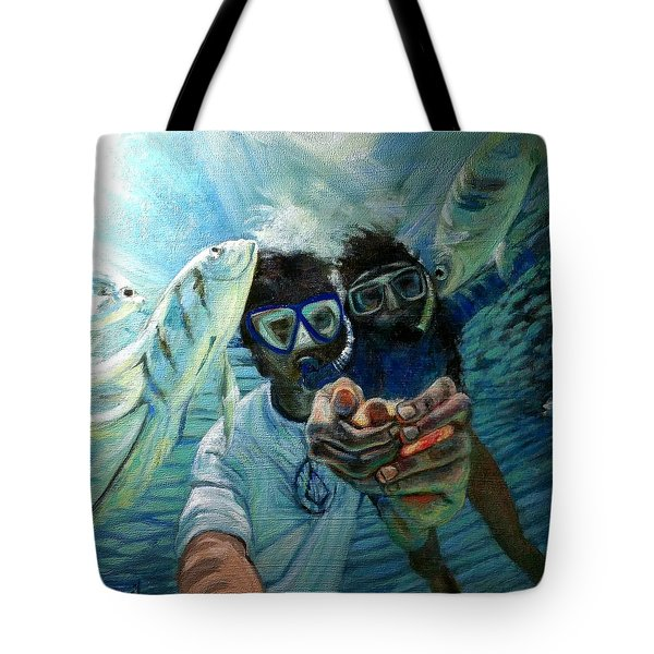 Tote Bag featuring the painting Honeymoon Selfie by J Reynolds Dail
