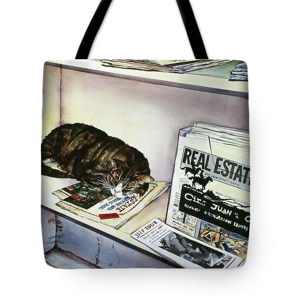 Newpaper Cat Tote Bag