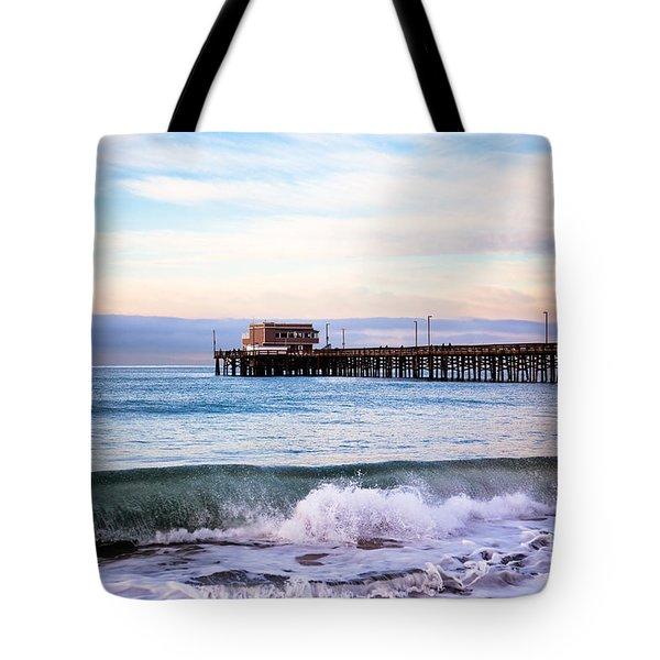 Newport Beach Ca Pier At Sunrise Tote Bag by Paul Velgos