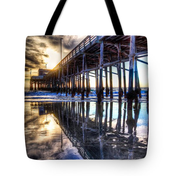 Newport Beach Pier - Reflections Tote Bag