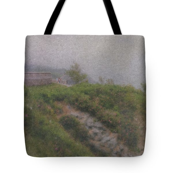 Newport Cliff Walk In The Fog Tote Bag