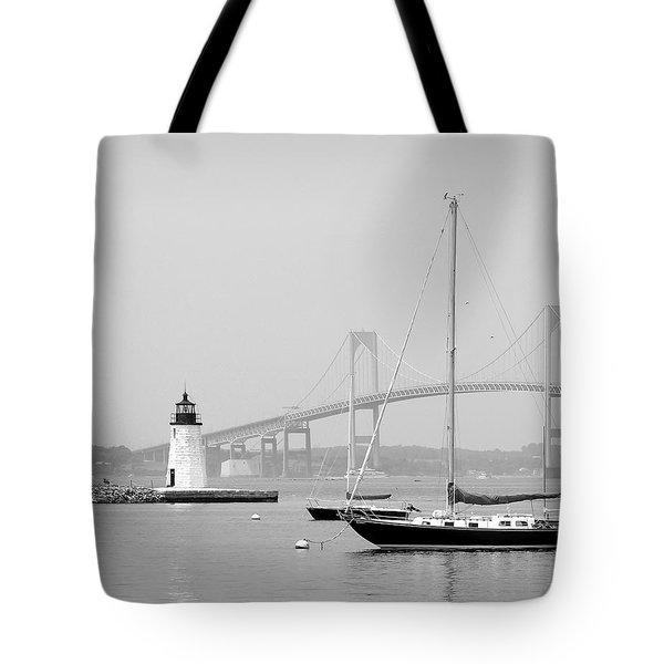 Newport, Rhode Island Serene Harbor Scene Tote Bag