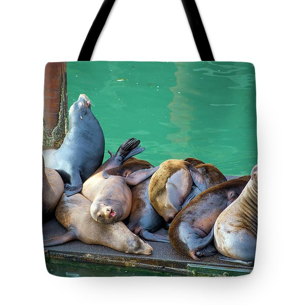 Tote Bag featuring the tapestry - textile Newport Sea Lions by Dennis Bucklin