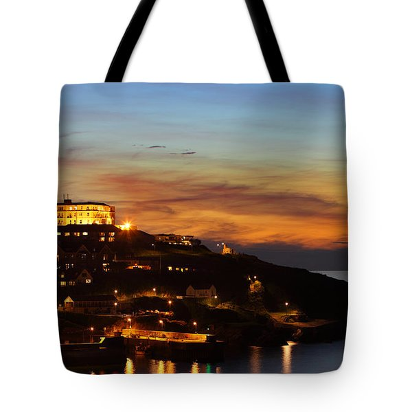 Newquay Harbor At Night Tote Bag