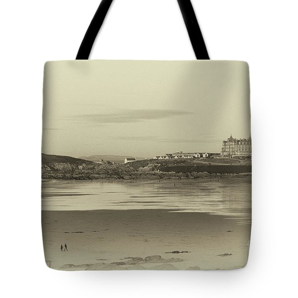 Newquay With Old Watercolor Effect  Tote Bag by Nicholas Burningham