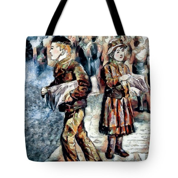 Tote Bag featuring the digital art Newsboy by Pennie McCracken