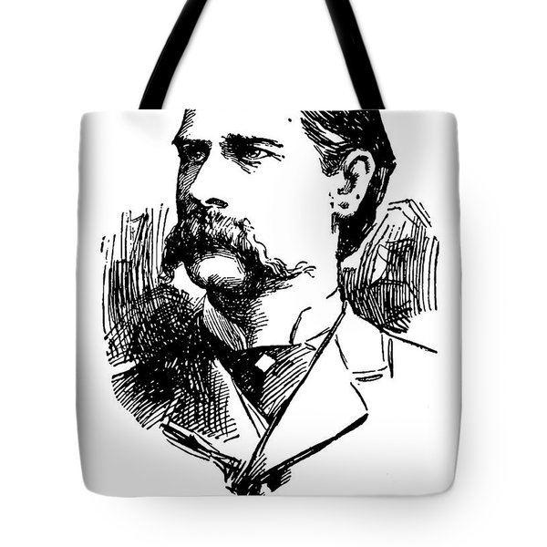 Tote Bag featuring the mixed media Newspaper Image Of Wyatt Earp 1896 by Daniel Hagerman