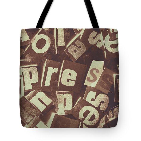 Newsprint Journalism Tote Bag