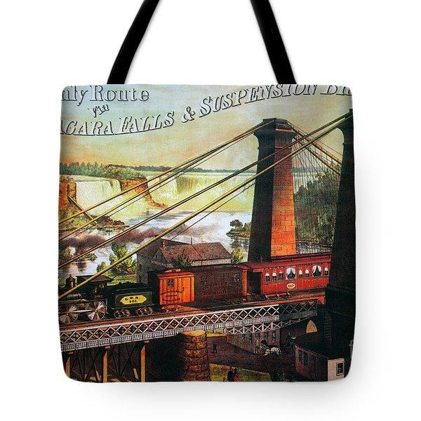 Niagara Falls Bridge, 1876 Tote Bag by Granger