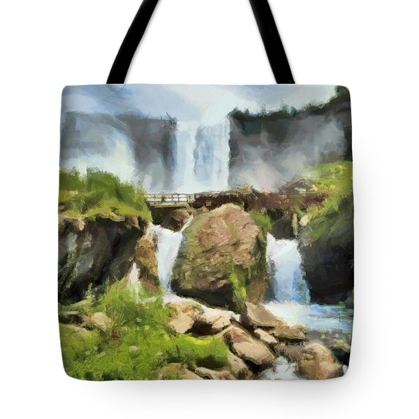 Tote Bag featuring the digital art Niagara Falls Cave Of The Winds by Charmaine Zoe