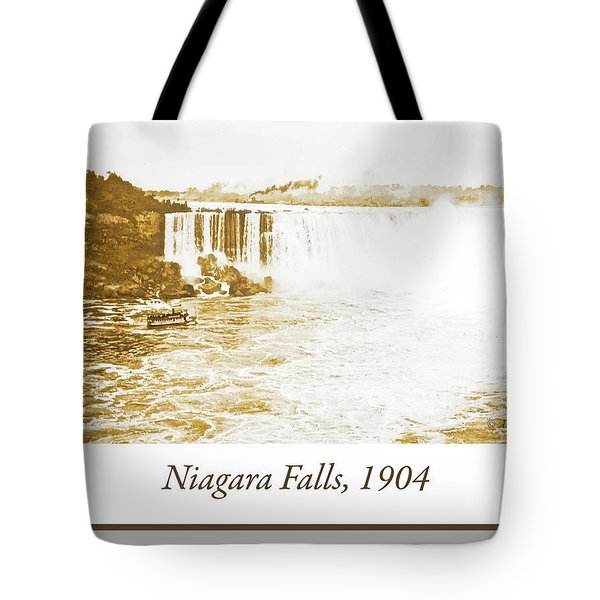 Tote Bag featuring the photograph Niagara Falls Ferry Boat 1904 Vintage Photograph by A Gurmankin