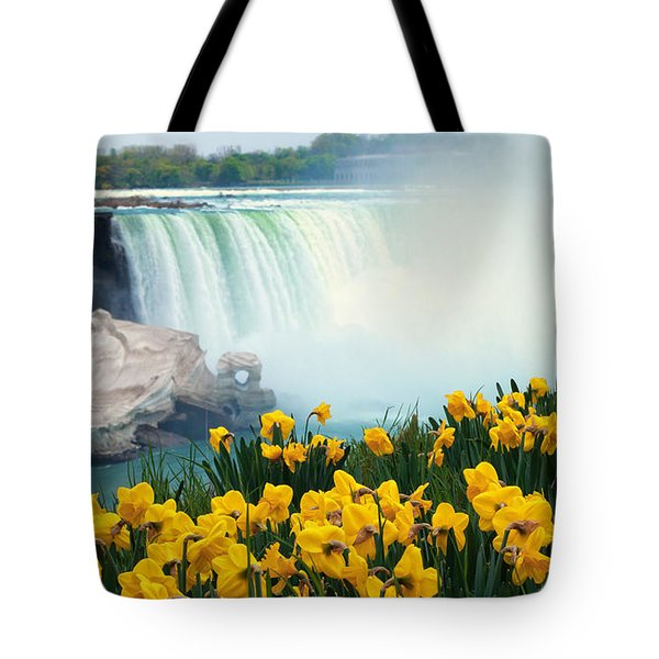 Niagara Falls Spring Flowers And Melting Ice Tote Bag by Charline Xia