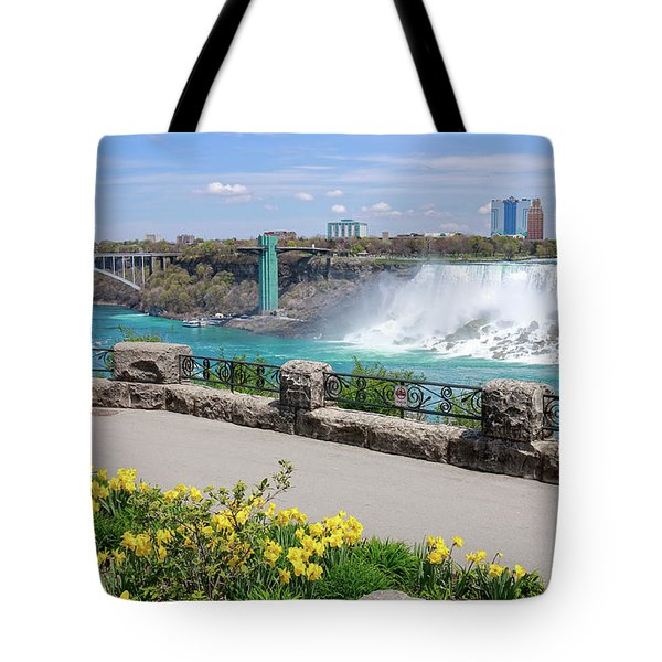 Niagara Falls Spring Time Tote Bag by Charline Xia