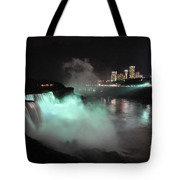 Tote Bag featuring the photograph Niagara Night Lights by Gina Savage