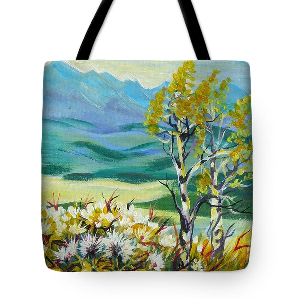 Tote Bag featuring the painting Nice Autumn Day by Anna  Duyunova