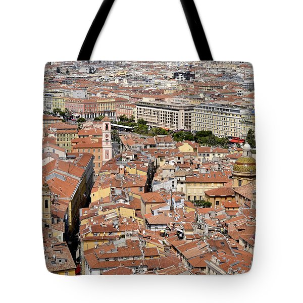 Tote Bag featuring the digital art Nice - France by Leo Symon