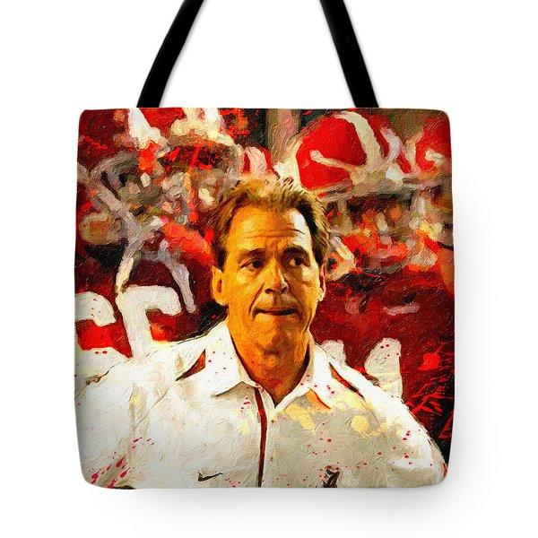 Nick Saban Roll Tide Two Tote Bag
