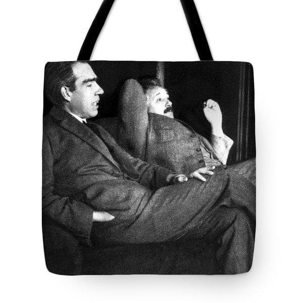 Niels Bohr And Albert Einstein Tote Bag