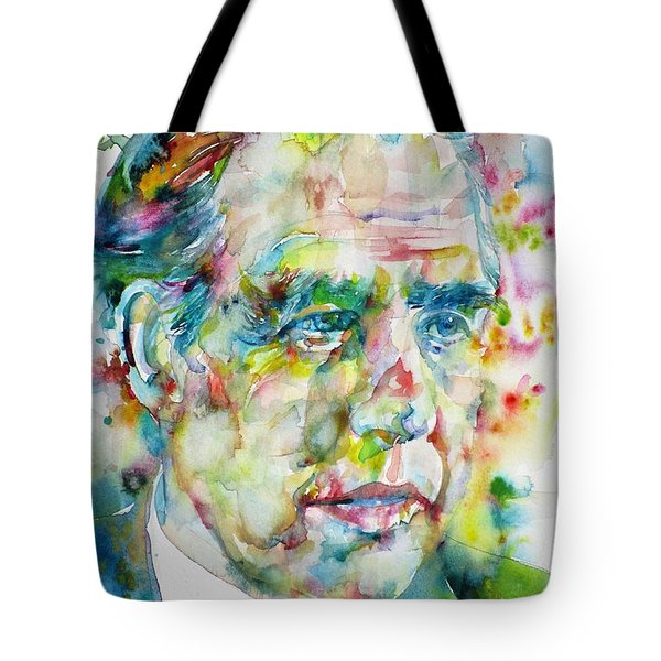 Tote Bag featuring the painting Niels Bohr - Watercolor Portrait by Fabrizio Cassetta