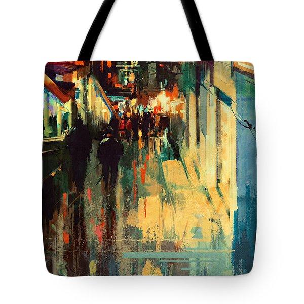 Night Alleyway Tote Bag