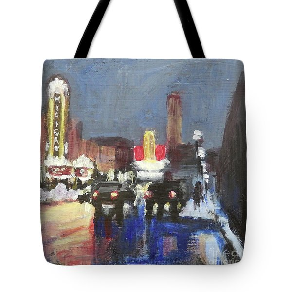 Night Around Michigan Theater Tote Bag