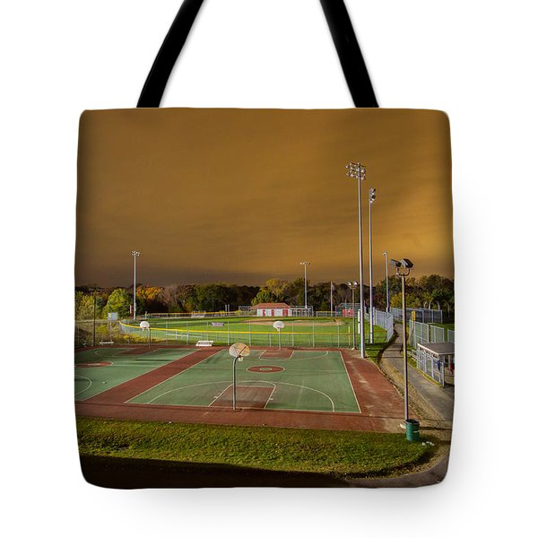 Night At The High School Basketball Court Tote Bag