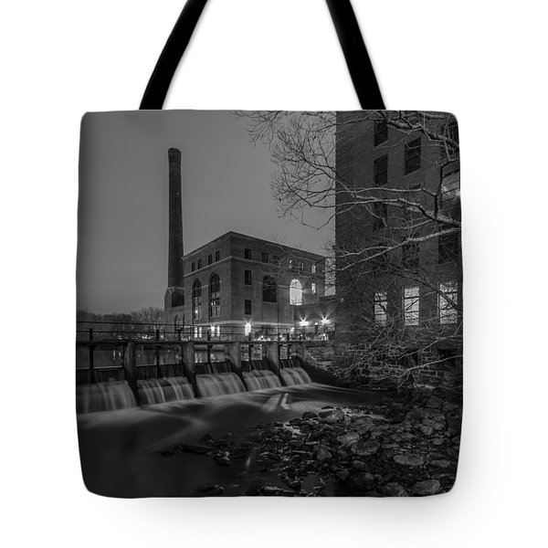 Night At The River 2 In Black And White Tote Bag