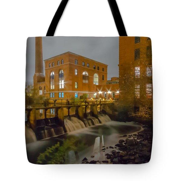 Night At The River Vertical Tote Bag