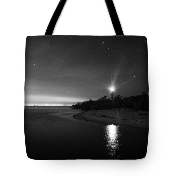 Night At The Sanibel Lighthouse In Black And White Tote Bag