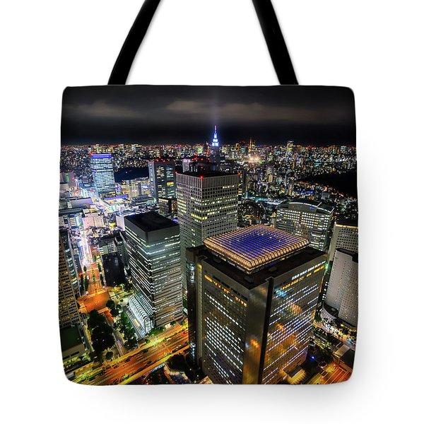Night At Tokyo Metropolitan Government Building Tote Bag