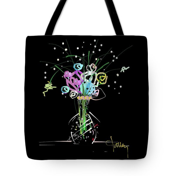Tote Bag featuring the mixed media Night Bouquet by Larry Talley