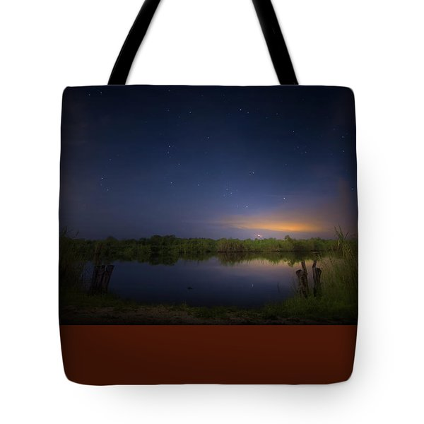 Night Brush Fire In The Everglades Tote Bag by Mark Andrew Thomas