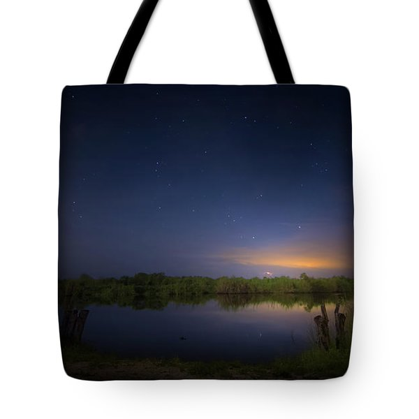 Night Brush Fire In The Everglades Tote Bag