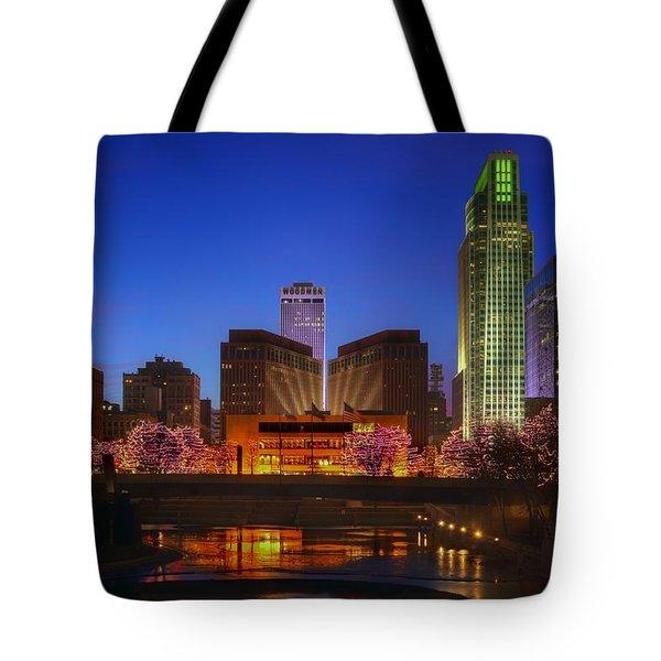 Night Cityscape - 2 - Omaha - Nebraska Tote Bag