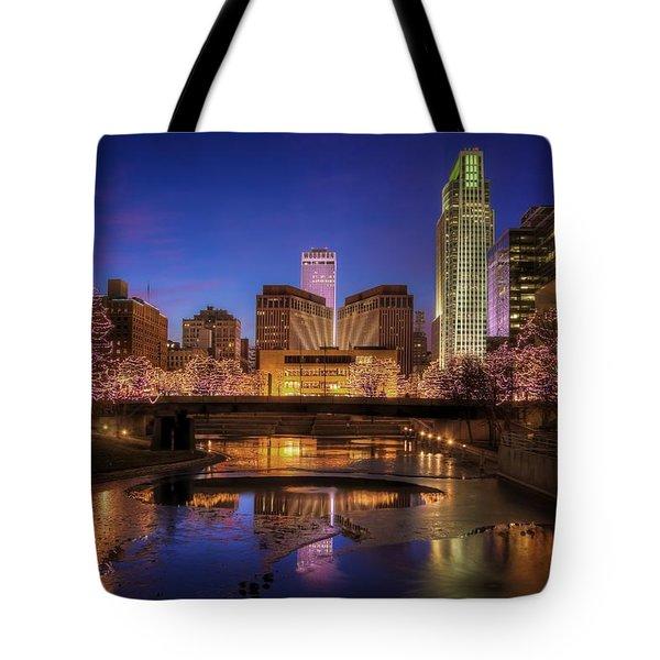 Night Cityscape - Omaha - Nebraska Tote Bag
